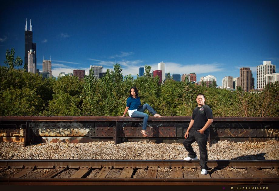 chicago graffiti train tracks engagement