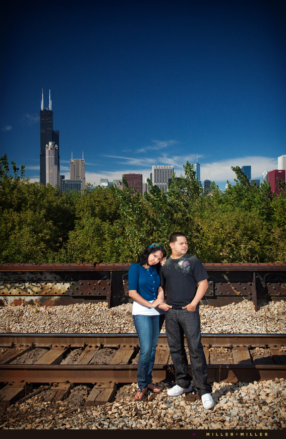 chicago metra train tracks engagement