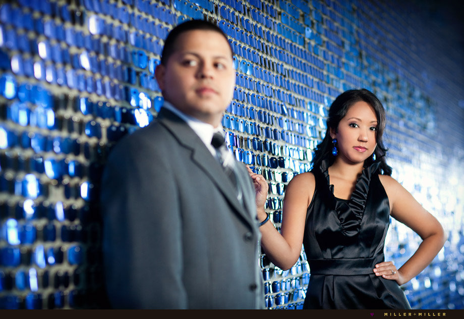 colorful blue shiny wall engagement