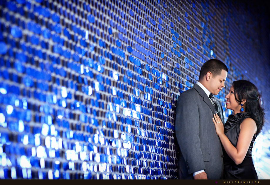 colorful sparkly wall chicago engagement