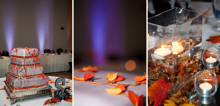 fall purple orange wedding
