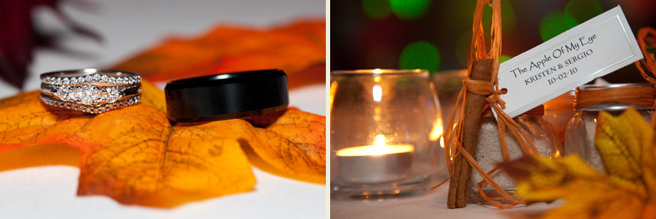 fall wedding apple cider leaf-rings