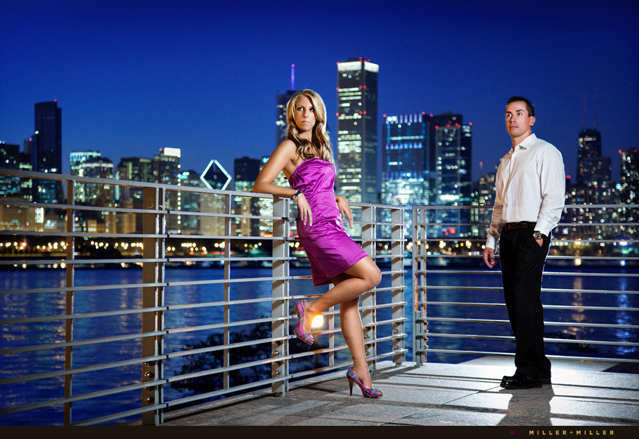 high-fashion chicago night engagement