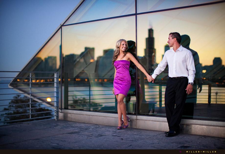 modern wing art institute engagement wedding photos