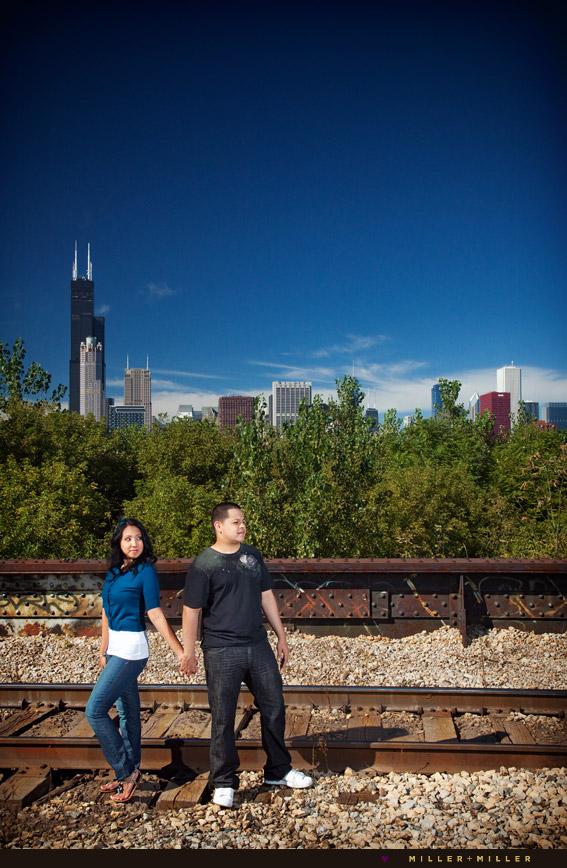 unique engagement photographer traintracks