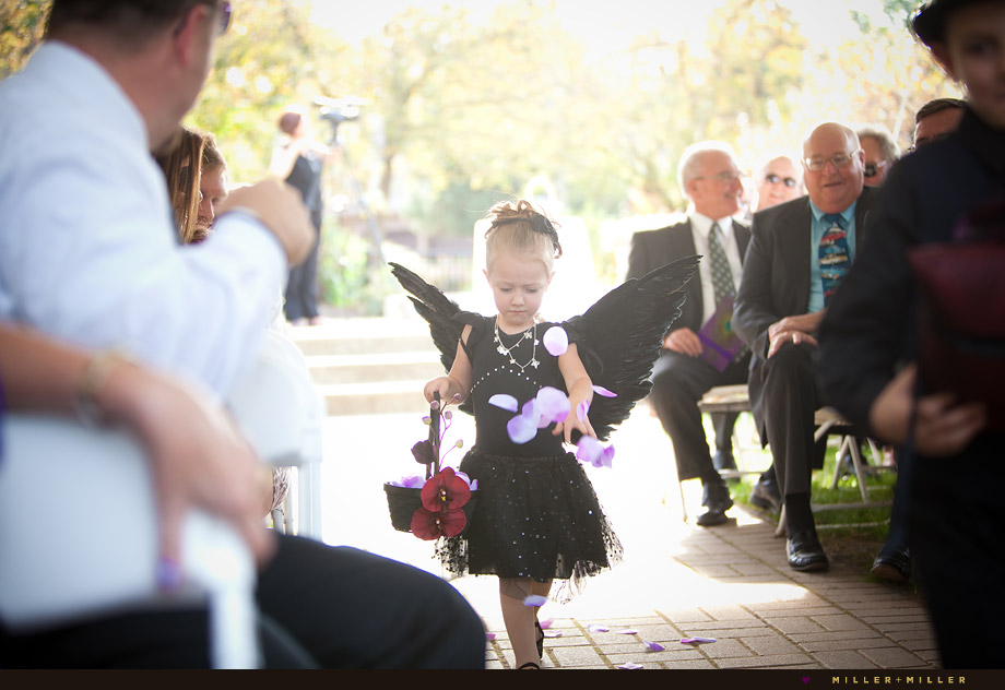 black dress gothic wedding flower girl