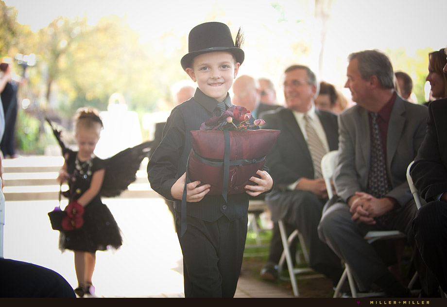 dark gothic wedding ring bearer