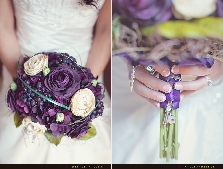 deep purple wedding bouquet vintage key