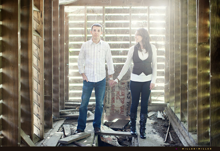 engagement photos in barn