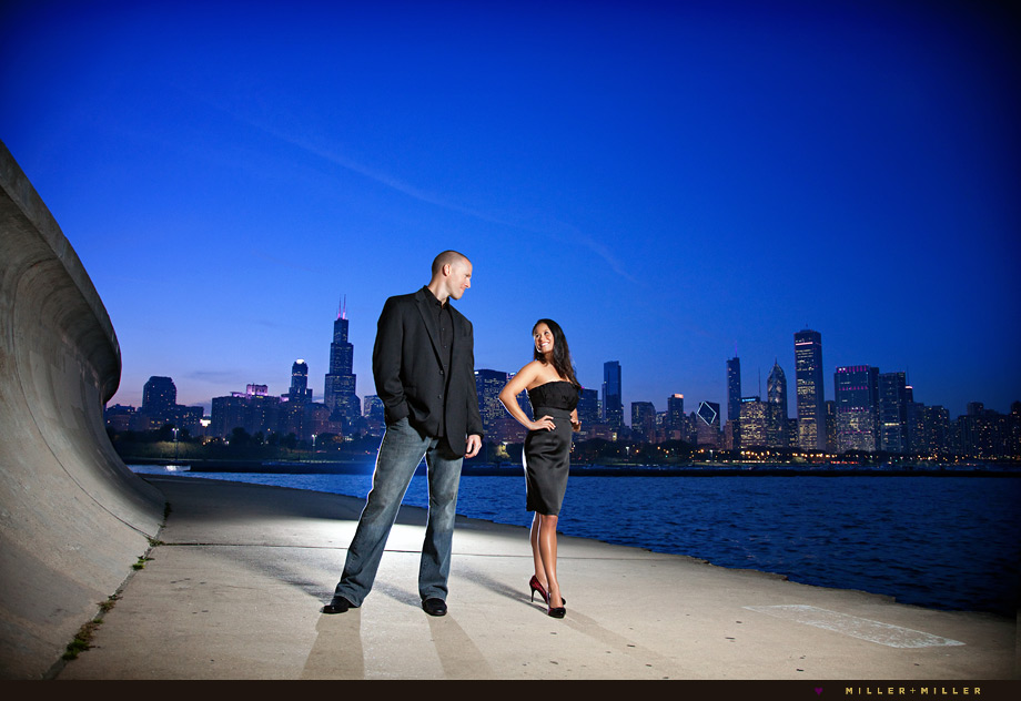 high-fashion engagement chicago night skyline