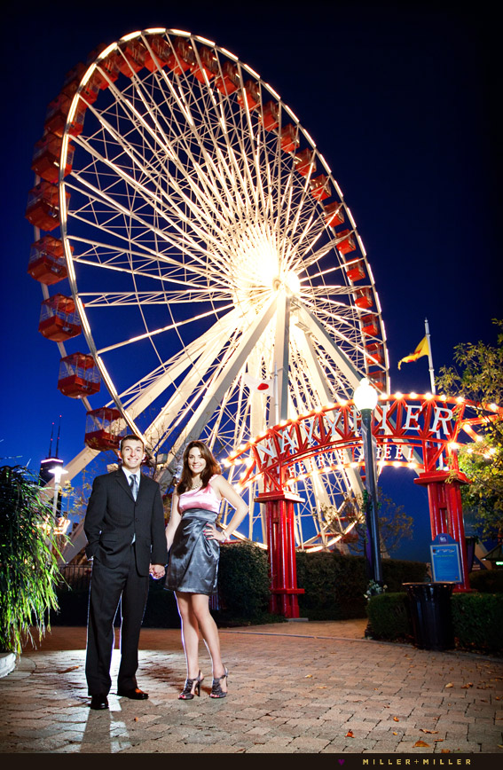 navy pier engagement pictures ferris wheel