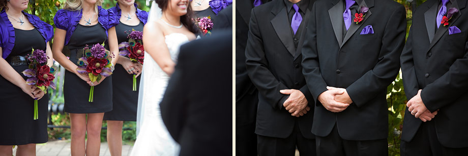 outdoor black dark purple wedding