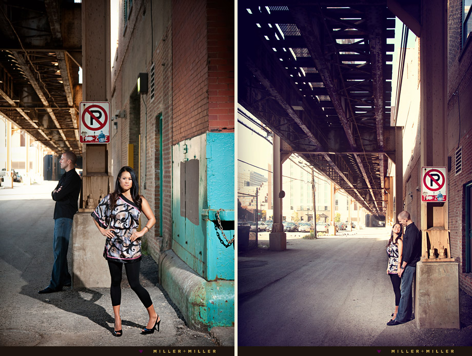 stylish engagement downtown chicago