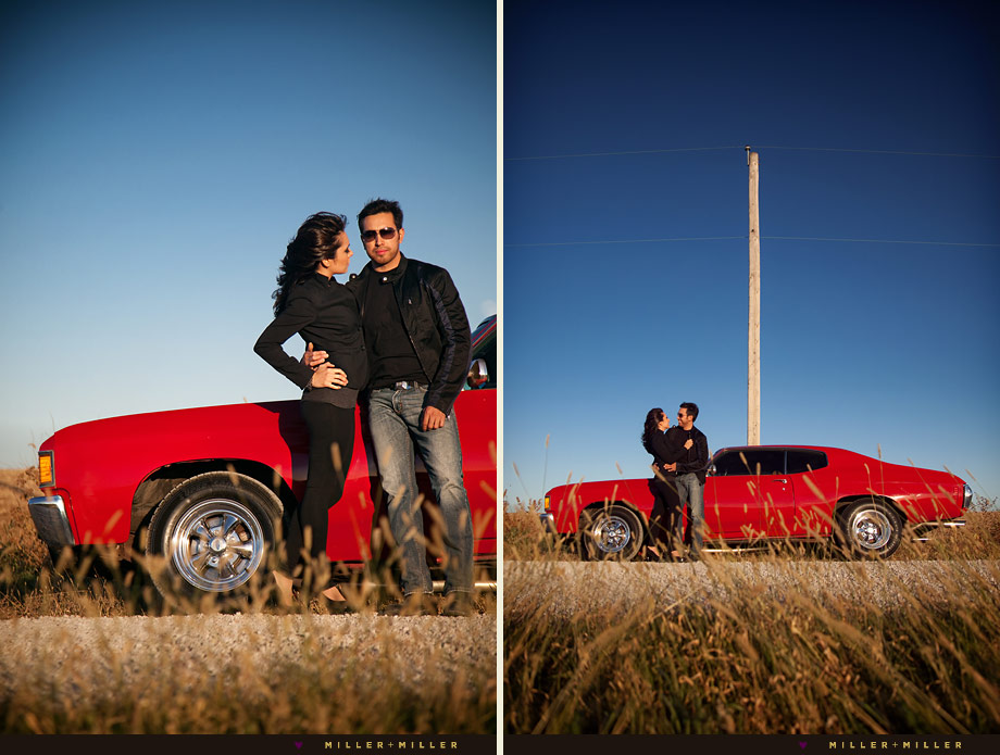 vintage chevelle engagement gravel road chicago