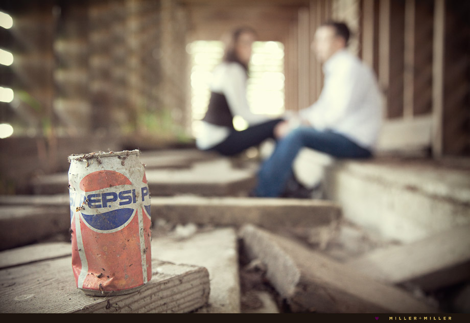 vintage pepsi coke can wooden barn engagement