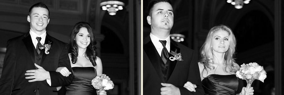 bridal party black white images