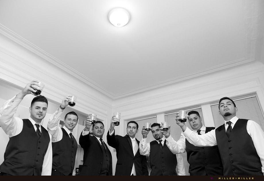 groomsmen toasting skokie