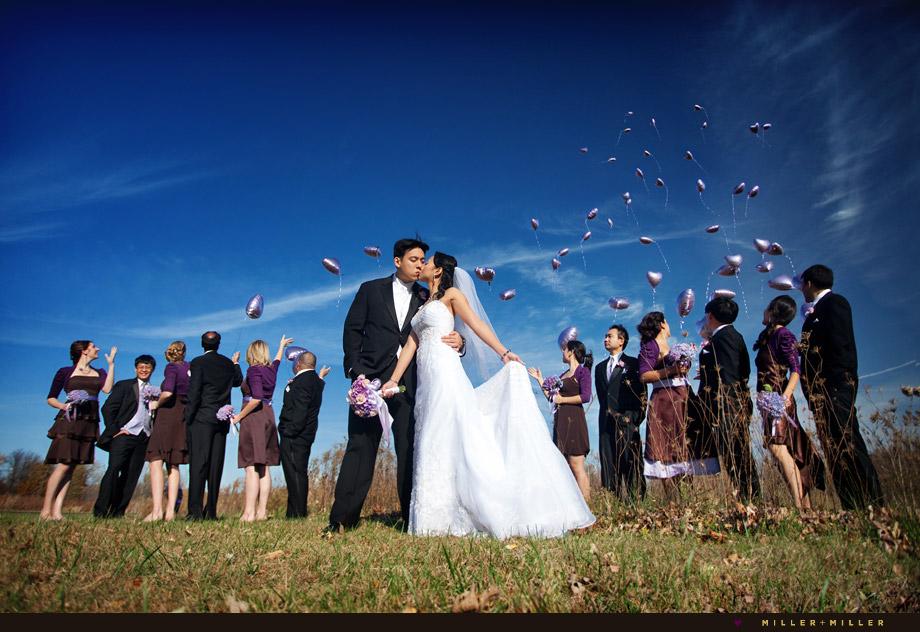 purple wedding balloons sky