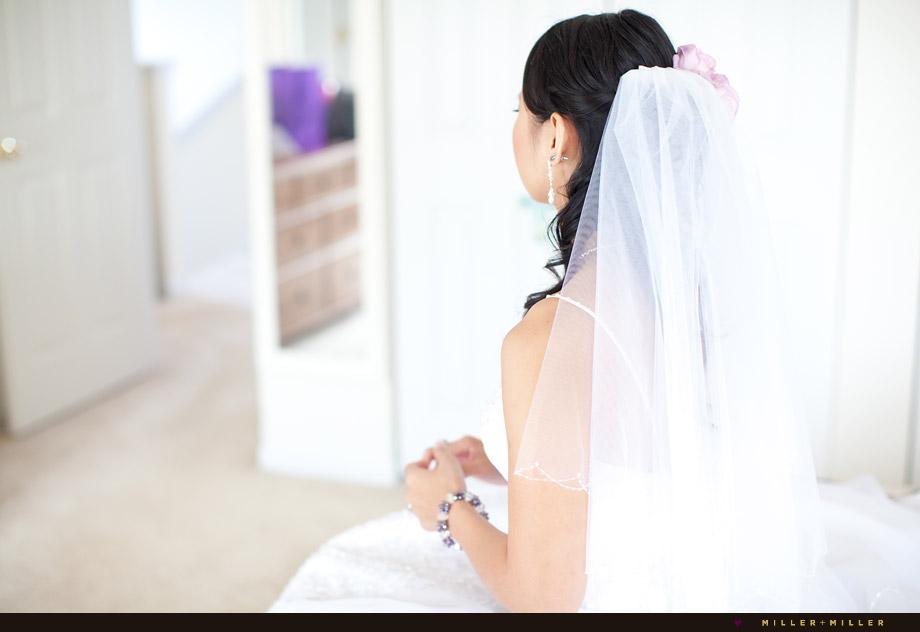 veiled bride waiting