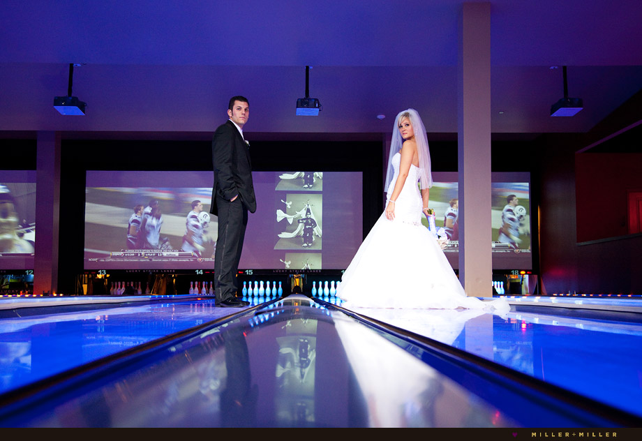 bride groom bowling alley lane