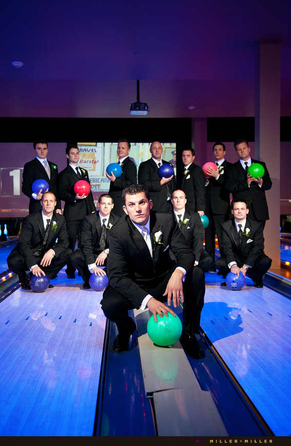 groomsmen bowling alley