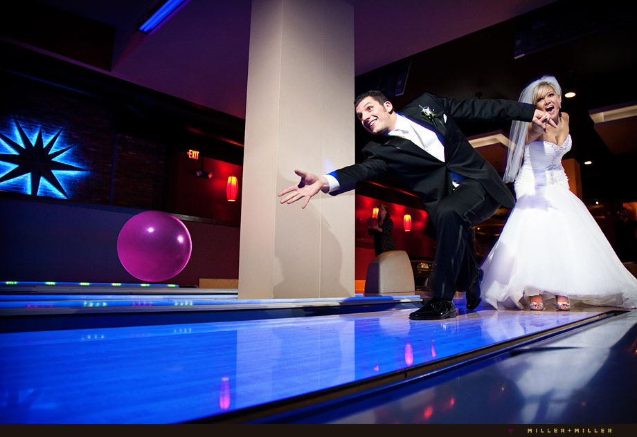 wedding photos bowling alley