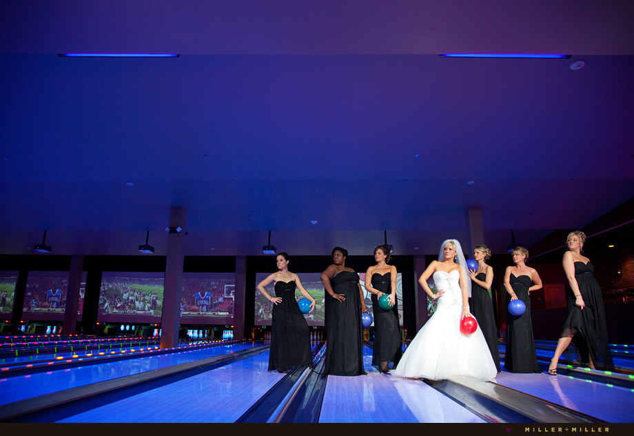 wedding photos bowling lane