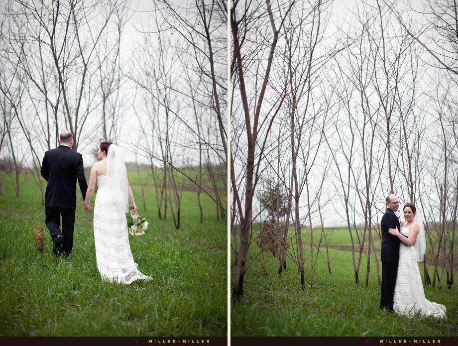 elegant wedding portraits grassy field