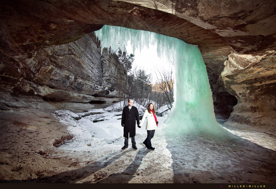 starved rock winter engagement frozen waterfall