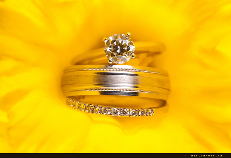 wedding bands in yellow daffodil