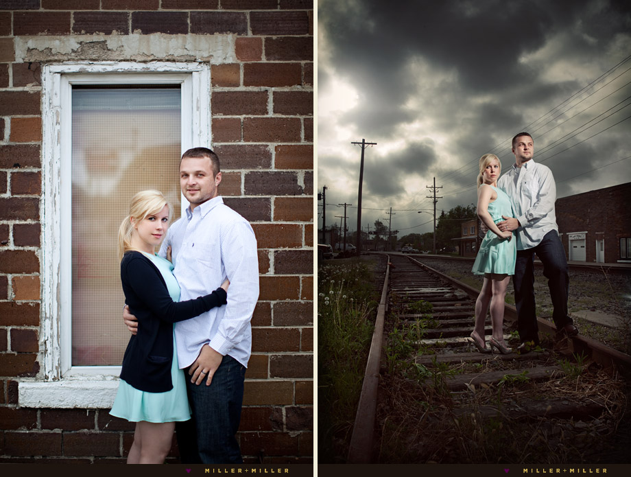 edgy engagement pictures train tracks