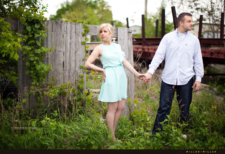 engagement photos fence truck bed