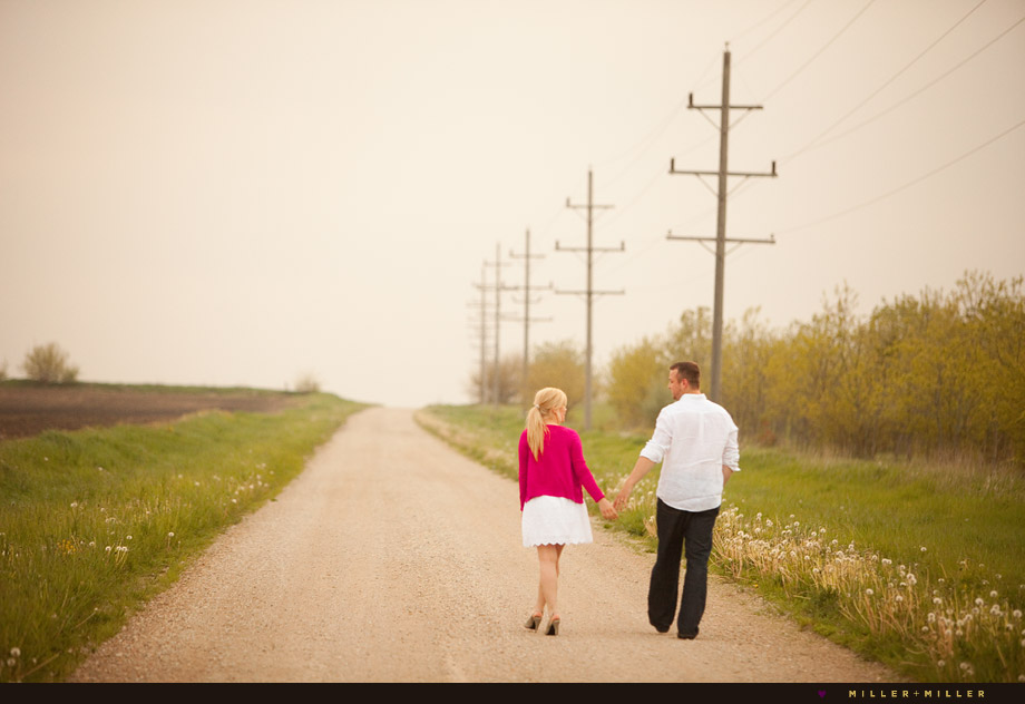 fine art engagement gravel road photos