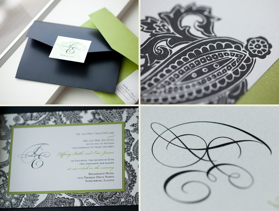 green black elegant wedding papers