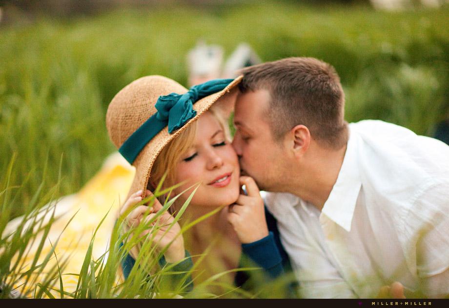 illinois engagement photography blanket grass