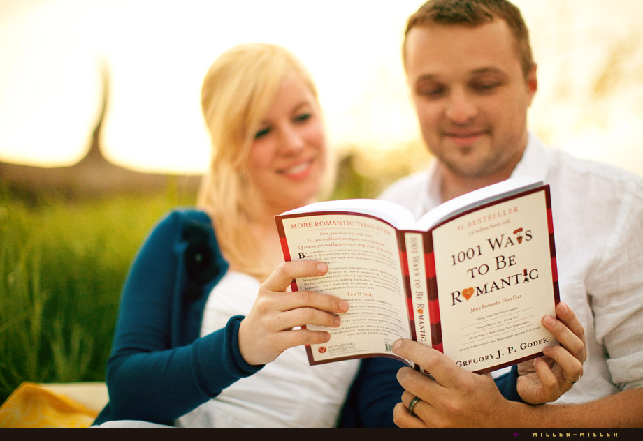 romantic setting couple reading book