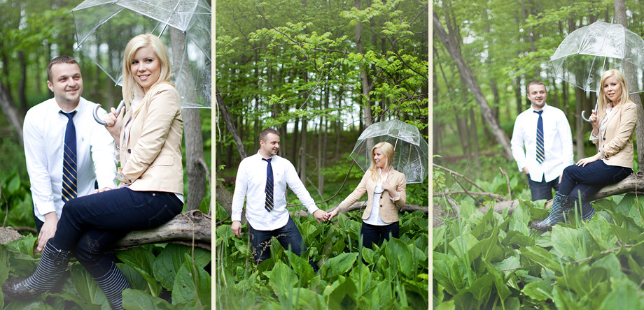 umbrella rain boots engagement pictures