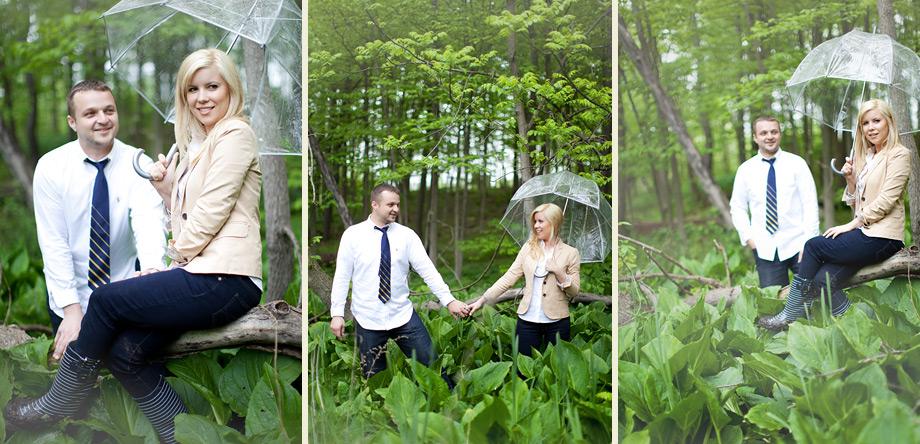 umbrella rain boots engagement pictures