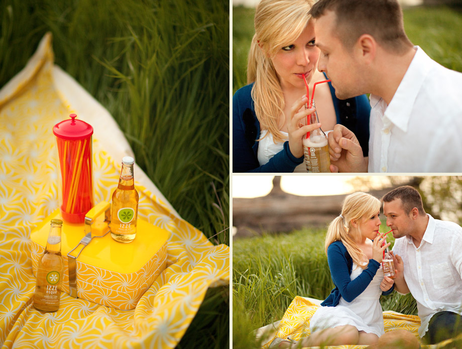 vintage style picnic engagement photography