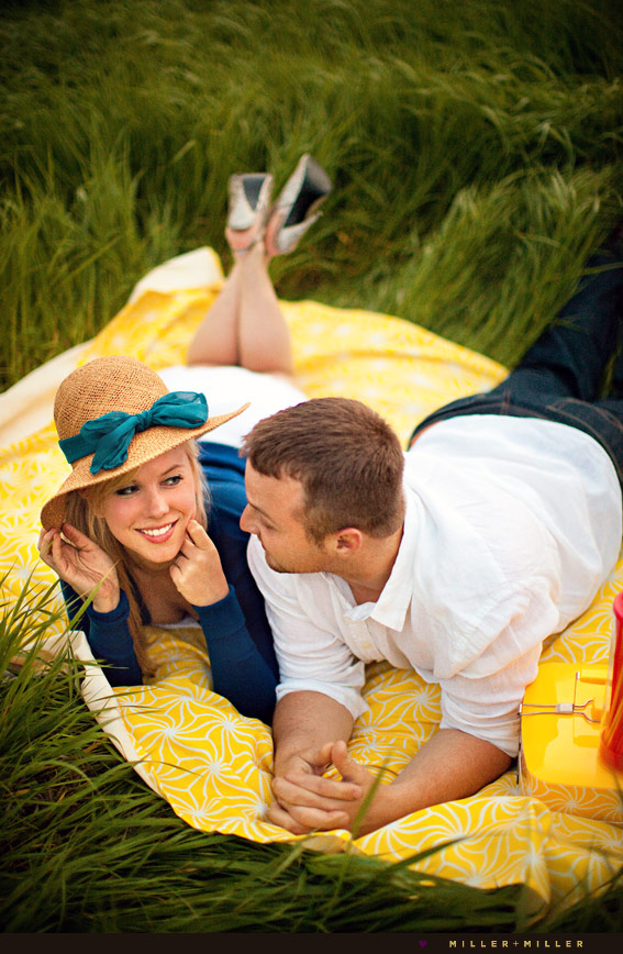 yellow vintage inspired engagement photos