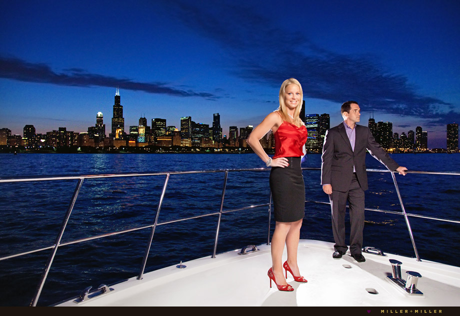 chicago skyline night engagement boat