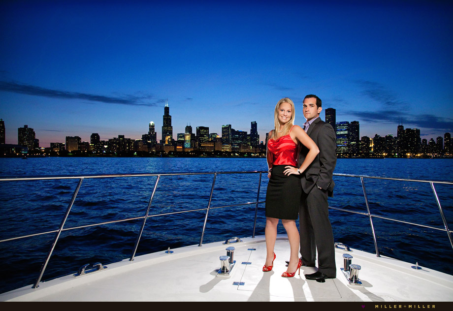 chicago skyline night engagement yacht water