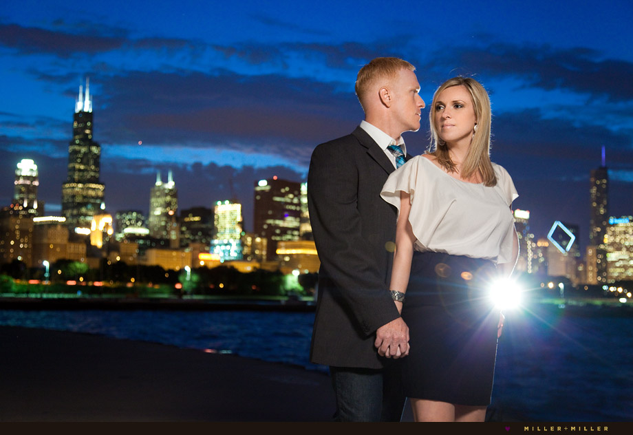 chicago skyline night portraits