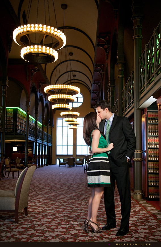 engagement photos in library