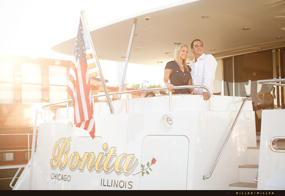 engagement photos private yacht deck
