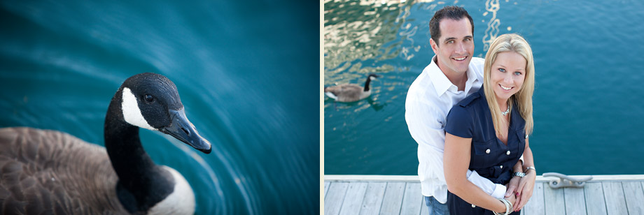 engagement portraits on dock by water