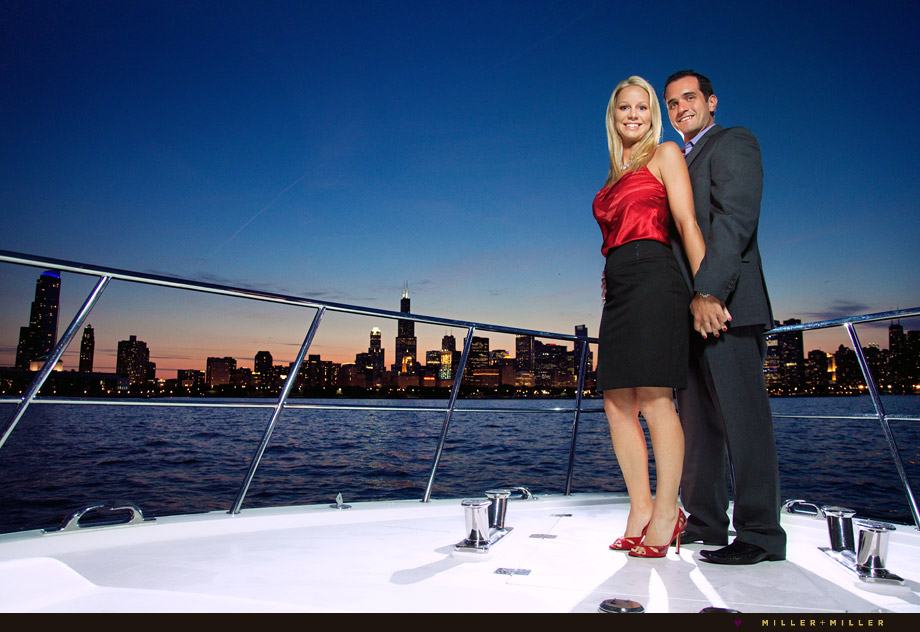 engagement session yacht chicago skyline