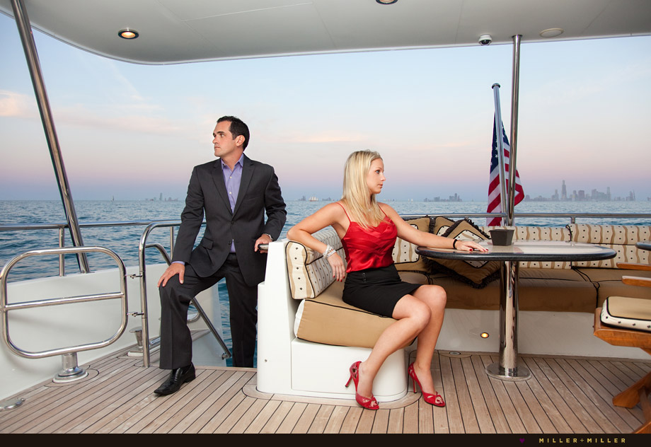 high-fashion chicago engagement pictures yacht