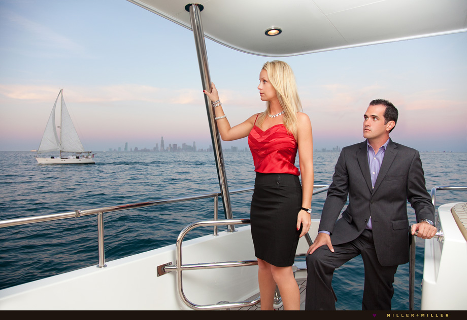 nautical Chicago yacht engagement photography session