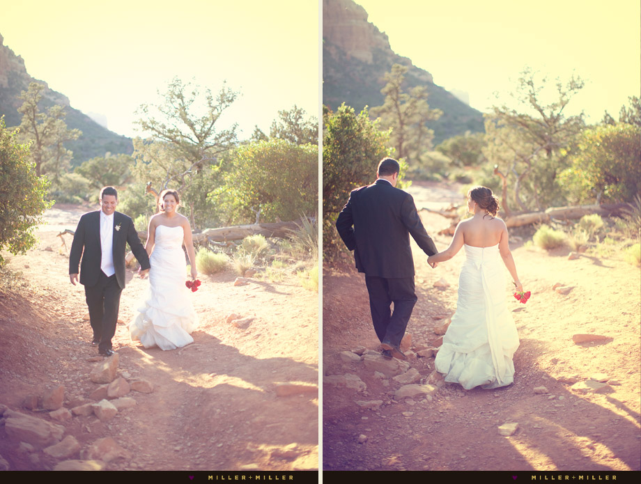 red rock desert bride groom walking
